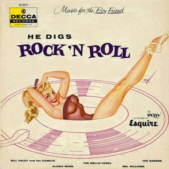Decca LP Cover He digs Rock N Roll George Petty 1956 Sex Appeal | Sex Appeal Vintage Ads and Covers 1891-1970