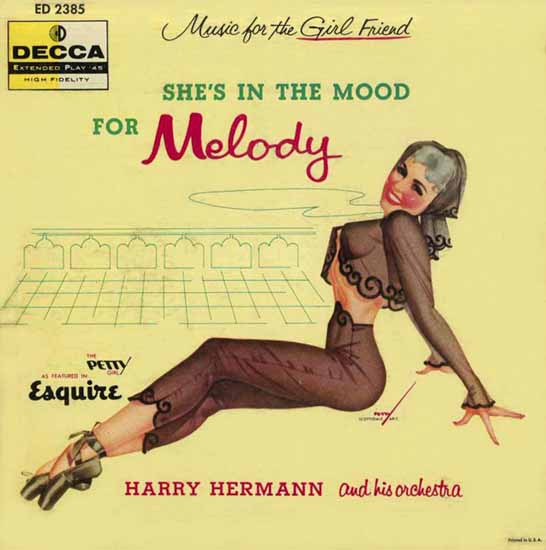 Decca LP Cover In the Mood for Melody George Petty 1956 Sex Appeal | Sex Appeal Vintage Ads and Covers 1891-1970
