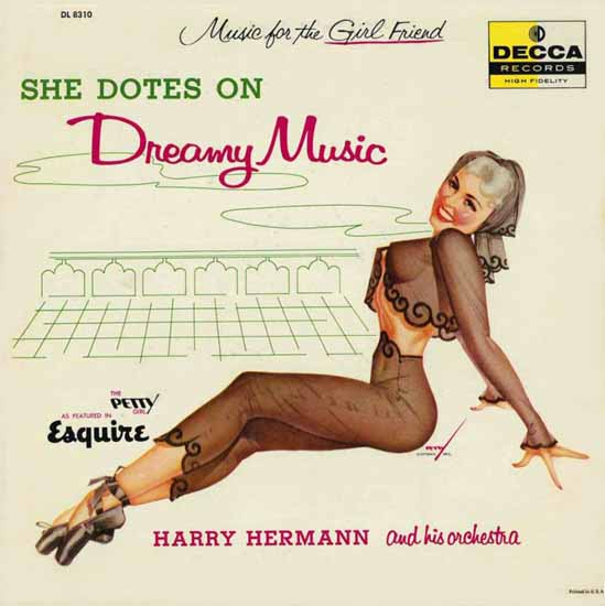 Decca LP Cover She dotes Dreamy Music George Petty 1956 Sex Appeal | Sex Appeal Vintage Ads and Covers 1891-1970