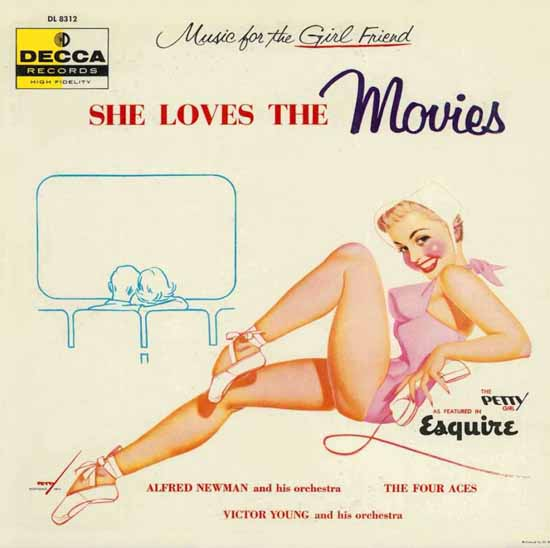 Decca LP Cover She loves the Movies George Petty 1956 Sex Appeal | Sex Appeal Vintage Ads and Covers 1891-1970