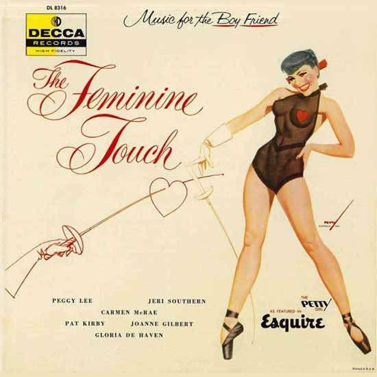 Decca LP Cover The Feminine Touch George Petty 1956 Sex Appeal | Sex Appeal Vintage Ads and Covers 1891-1970