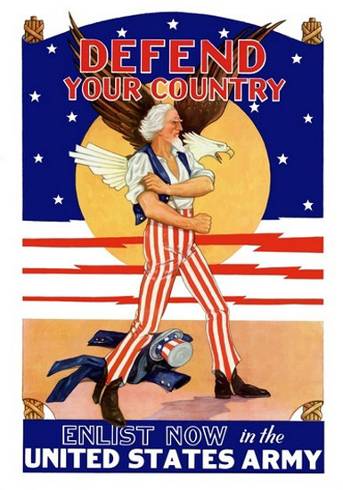 Defend Your Country Enliste Now In The US Army | Vintage War Propaganda Posters 1891-1970