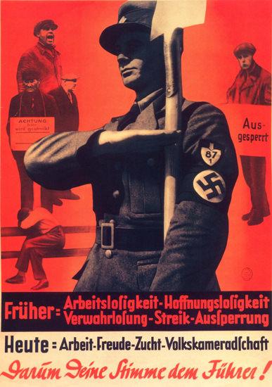 Deine Stimme dem Fuehrer Vote For Adolf Hitler | Vintage War Propaganda Posters 1891-1970