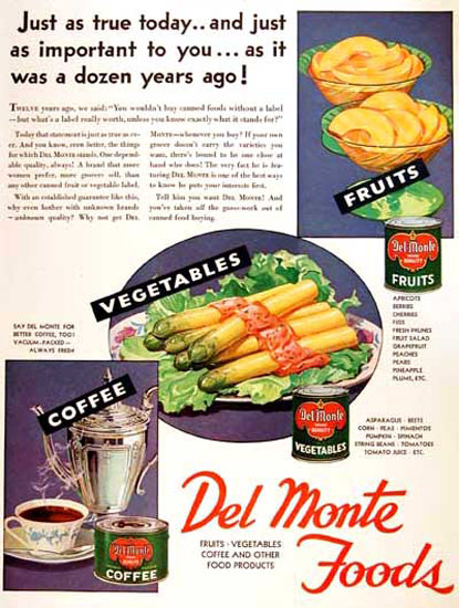Del Monte Foods 1931 Fruits Vegetables Coffee Ladies Home Journal | Vintage Ad and Cover Art 1891-1970