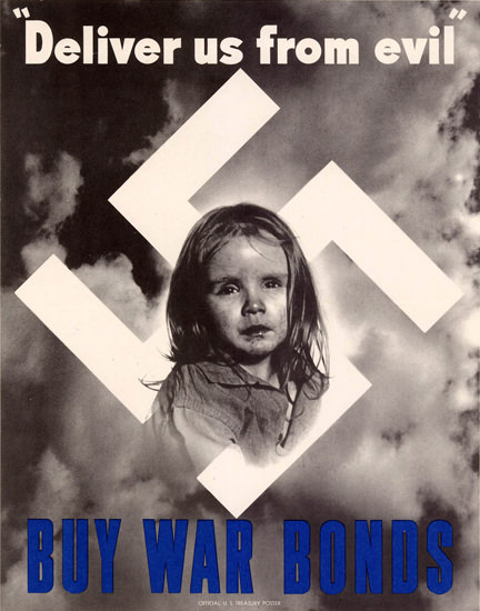 Deliver Us From Evil By War Bonds Swastika | Vintage War Propaganda Posters 1891-1970