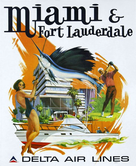 Delta Air Lines Miami Fort Lauderdale | Vintage Travel Posters 1891-1970