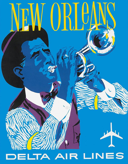 Delta Air Lines New Orleans Jazz 1960 | Vintage Travel Posters 1891-1970