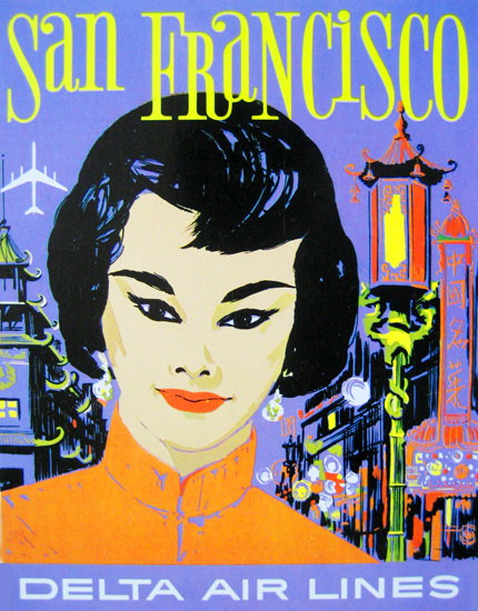 Delta Air Lines San Francisco China Town 1960s | Vintage Travel Posters 1891-1970
