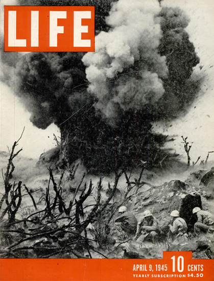 Demolition on Iwo Jima 9 Apr 1945 Copyright Life Magazine | Life Magazine BW Photo Covers 1936-1970