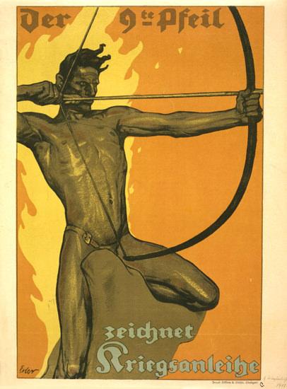 Der 9te Pfeil Zeichnet Kriegsanleihe | Vintage War Propaganda Posters 1891-1970