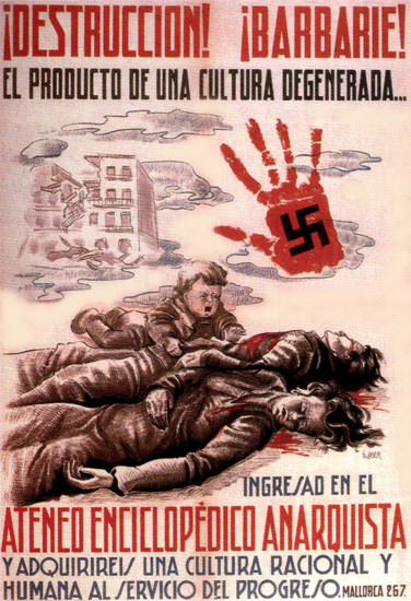 Destrucction Barbarie Spain Espana   Vintage War Propaganda Posters 1891-1970