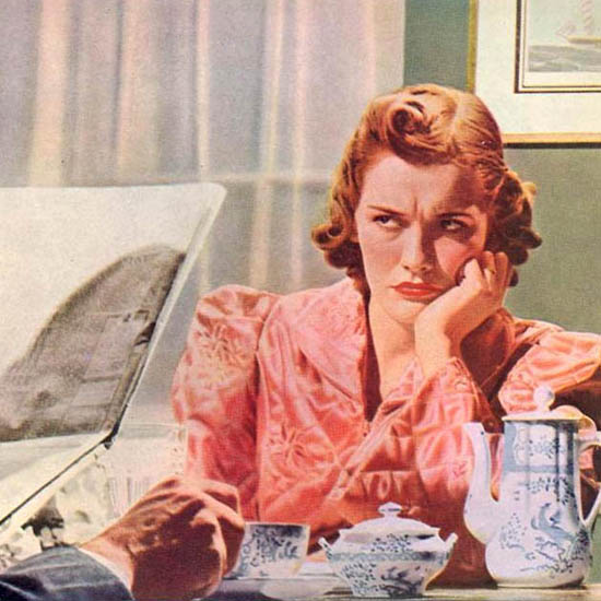 Detail Of AP Food Stores Dont Blame The Coffee Pot 1940 | Best of Vintage Ad Art 1891-1970