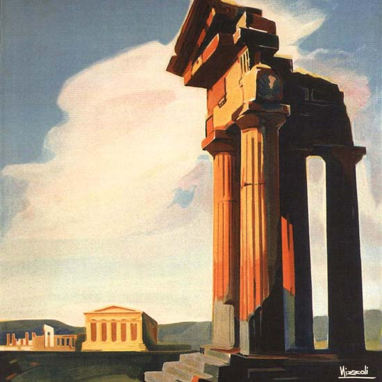 Detail Of Agrigento Greek Temple Italy Italia 1928 | Best of 1920s Ad and Cover Art