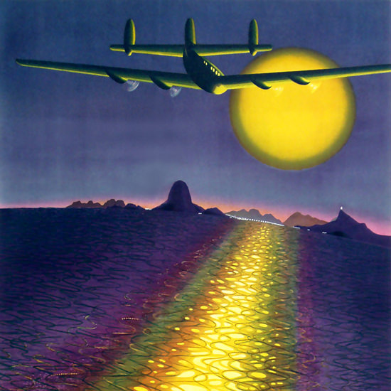 Detail Of Air France Amerique Du Sud Airplane Sunset 1948 | Best of 1940s Ad and Cover Art