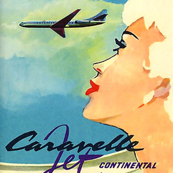 Detail Of Air Sabena Girl Caravelle Jet Continental Belgium | Best of Vintage Ad Art 1891-1970