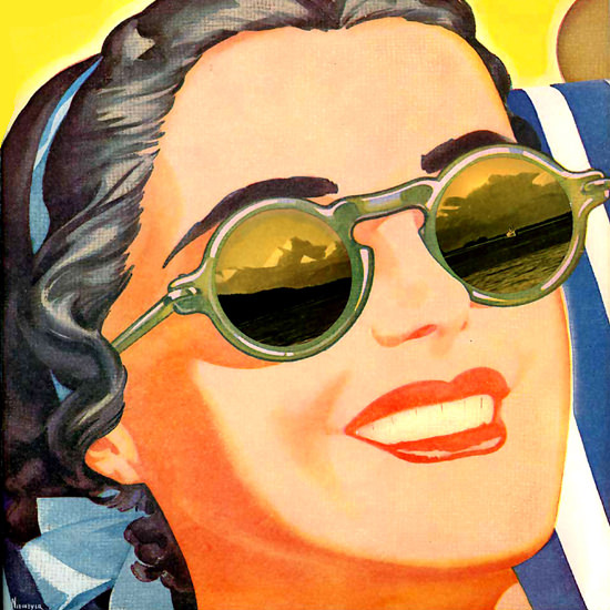Detail Of Alaska Steamship Company Interlude Girl 1938 by Arthur F Niemeyer | Best of 1930s Ad and Cover Art