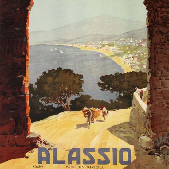 Detail Of Alassio Western Riviera Italy Italia | Best of Vintage Ad Art 1891-1970