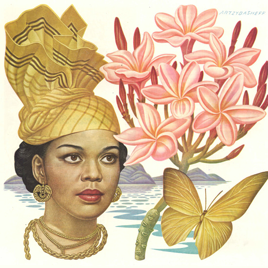 Detail Of Alcoa Sails The Caribbean Butterfly Flower 1948 by Boris Artzybasheff | Best of Vintage Ad Art 1891-1970
