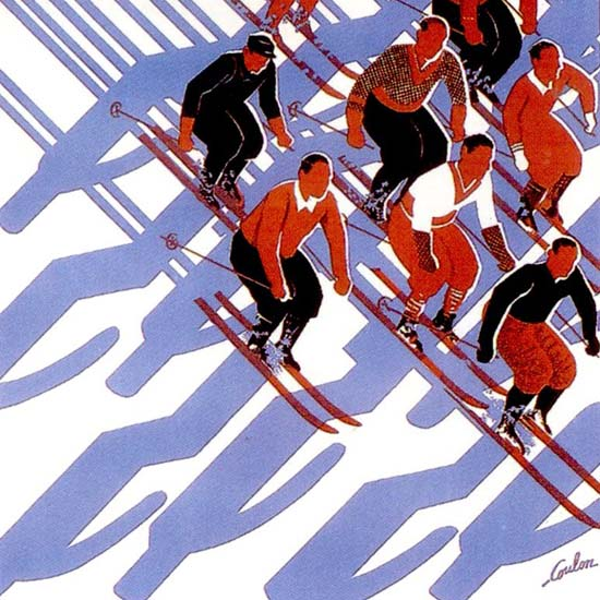 Detail Of Alps Et Jura Sports D Hiver 1933 Skiers Coulon | Best of Vintage Ad Art 1891-1970