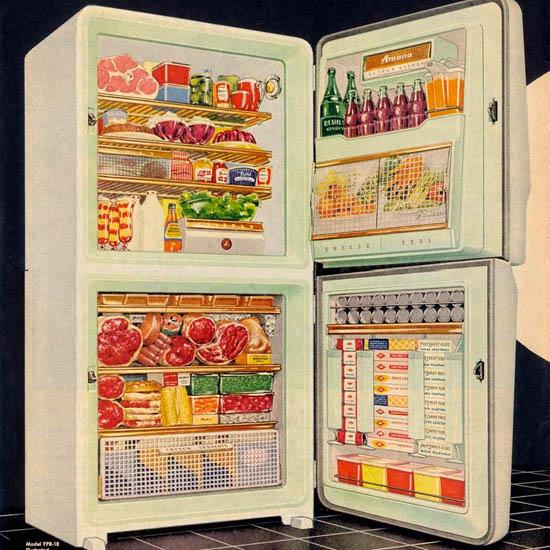 Detail Of Amana Refrigerator Freezer Fridge 1955 | Best of Vintage Ad Art 1891-1970