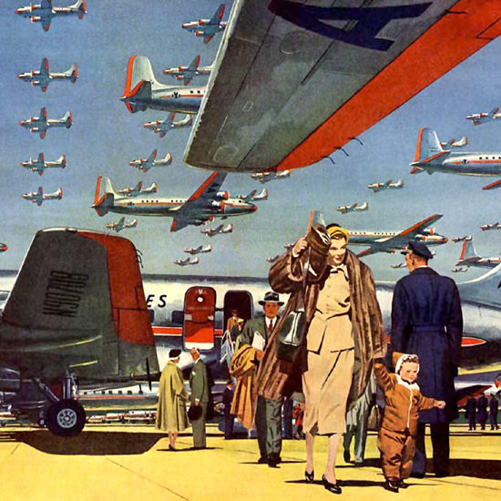 Detail Of American Airlines 1951 DC-6B Sets Pace Flagship | Best of Vintage Ad Art 1891-1970