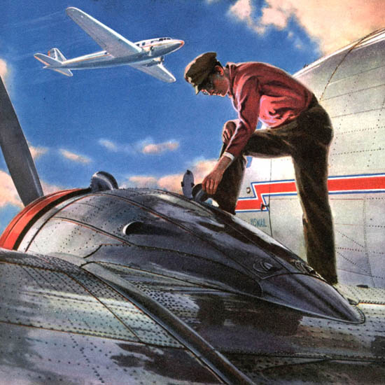 Detail Of American Airlines Behind The Scenes In Aviation | Best of Vintage Ad Art 1891-1970