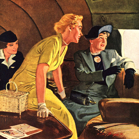 Detail Of American Airlines Columbus Discoverd First Class 1949 | Best of 1940s Ad and Cover Art