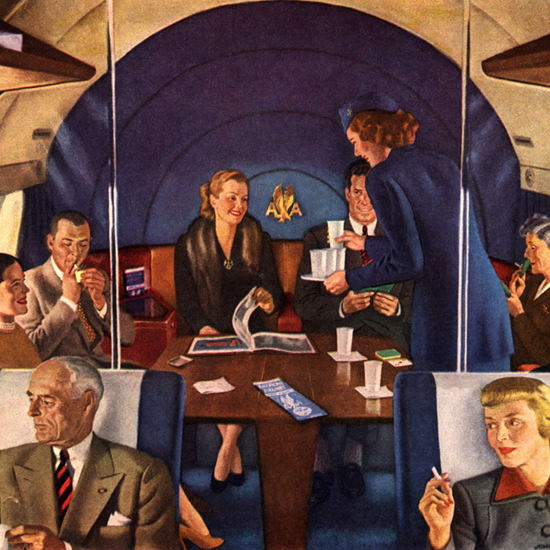 Detail Of American Airlines Cost To Cost New York LA | Best of Vintage Ad Art 1891-1970