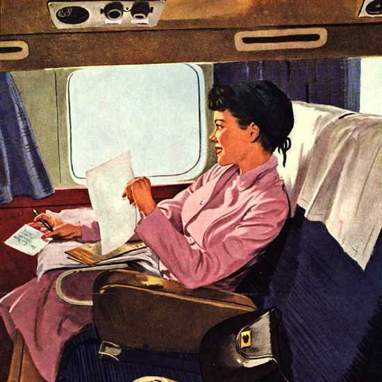 Detail Of American Airlines Girl Travel Alone And Love It | Best of Vintage Ad Art 1891-1970