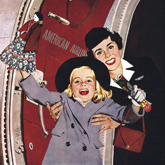 Detail Of American Airlines More Children Than The Stork | Best of Vintage Ad Art 1891-1970
