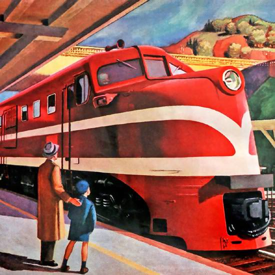 Detail Of American Locomotive 1944 Feed An Iron Horse by Edward Hopper | Best of 1940s Ad and Cover Art