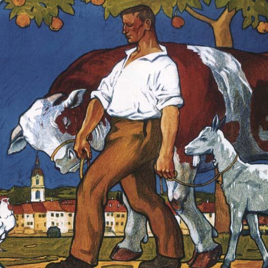 Detail Of Ausstellung Landwirtschaft 1913 Olten Schweiz | Best of Vintage Ad Art 1891-1970
