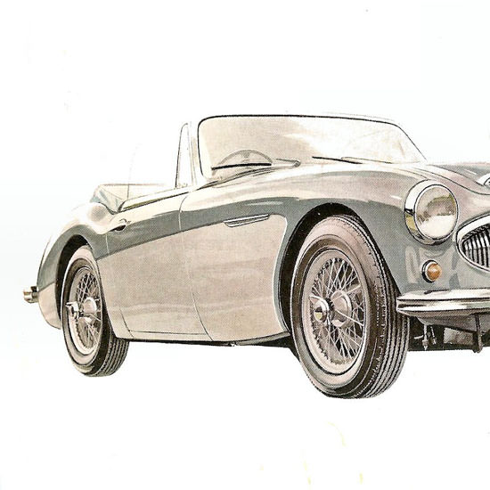 Detail Of Austin Healey 3000 Sports Conv 1963 Silver | Best of Vintage Ad Art 1891-1970