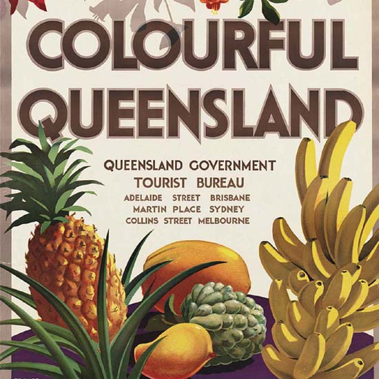 Detail Of Australia Colourful Queensland Fruits 1950s | Best of Vintage Ad Art 1891-1970
