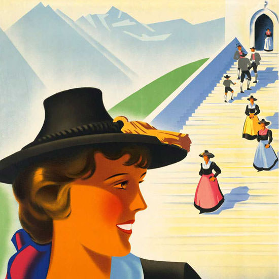 Detail Of Austria 1930s Traditional Costumes | Best of 1930s Ad and Cover Art