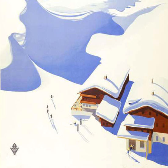 Detail Of Austria 1935 Snow Mountains | Best of Vintage Ad Art 1891-1970