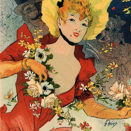 Detail Of Bagneres De Luchon Fete Des Fleurs France | Best of Vintage Ad Art 1891-1970