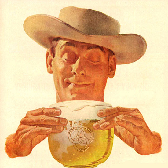 Detail Of Ballantine Ale Different 1953 Cowboy | Best of Vintage Ad Art 1891-1970