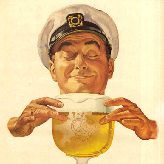 Detail Of Ballantine Ale Wonderfully Different 1953 Captain | Best of Vintage Ad Art 1891-1970
