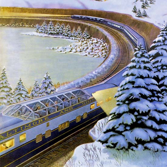 Detail Of Baltimore And Ohio Railroad Christmas 1949 | Best of Vintage Ad Art 1891-1970