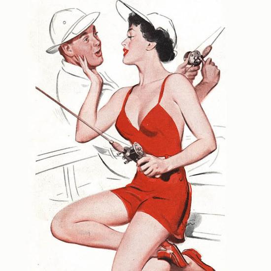 Detail Of Barbasol Shaving Cream Pin-Up Girl Fisherman 1956 | Best of Vintage Ad Art 1891-1970
