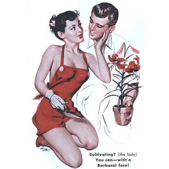 Detail Of Barbasol Shaving Cream Pin-Up Girl Gardening | Best of Vintage Ad Art 1891-1970