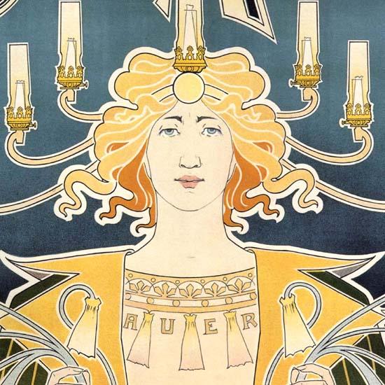 Detail Of Bec Auer Belgium 1896 Illumination Art Nouveau | Best of Vintage Ad Art 1891-1970