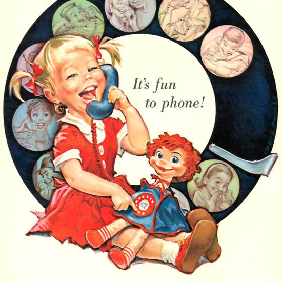 Detail Of Bell Telephone Fun To Phone Girl 1958 Dial Plate | Best of Vintage Ad Art 1891-1970
