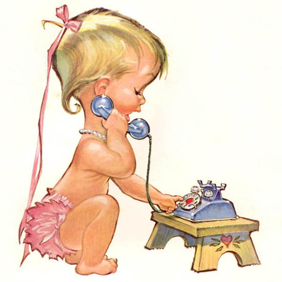 Detail Of Bell Telephone System Fun To Phone Baby 1958 | Best of Vintage Ad Art 1891-1970