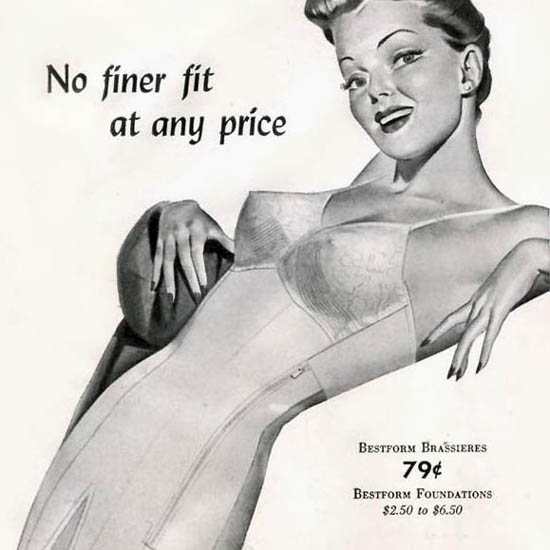 Detail Of Bestform Girdless Bras Lingerie No Finer Fit 1942 | Best of 1940s Ad and Cover Art