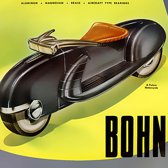 Detail Of Bohn Future Motorcycle Detroit Michigan 1940s | Best of 1940s Ad and Cover Art