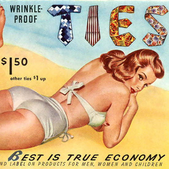 Detail Of Botany Ties Pin Up Beach Girl 1949 | Best of Vintage Ad Art 1891-1970