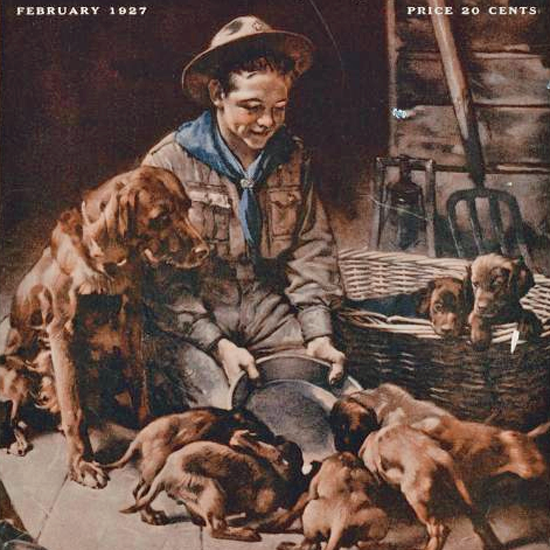 Detail Of Boys Life February 1927 Norman Rockwell | Best of 1920s Ad and Cover Art