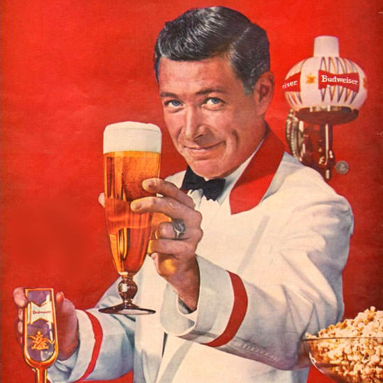 Detail Of Budweiser Beer Theres Life Barkeeper 1961 | Best of Vintage Ad Art 1891-1970